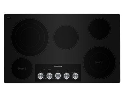 """36"""" KitchenAid Electric Cooktop With 5 Elements And Knob Controls - KCES556HSS"""