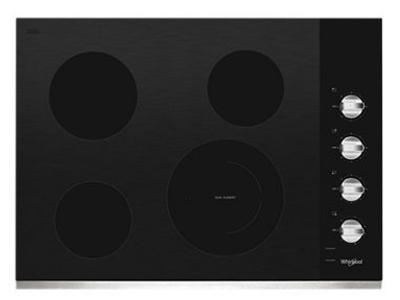 """30"""" Whirlpool Electric Ceramic Glass Cooktop with Dual Radiant Element - WCE55US0HS"""