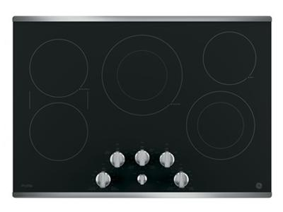 """36"""" GE Profile Electric Cooktop with Built-in Knob Control - PP7036SJSS"""